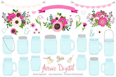 Pink and Cream Mason Jar Wedding Clipar