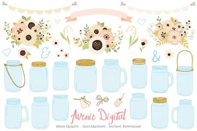 Ivory and Gold Mason Jar Wedding Clipart