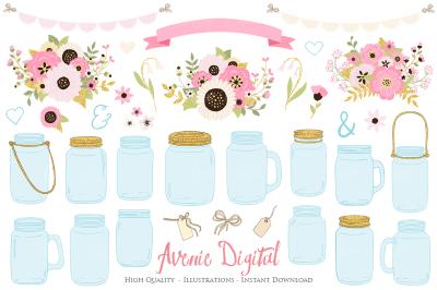 Pink and Gold Mason Jar Floral Wedding Clipart