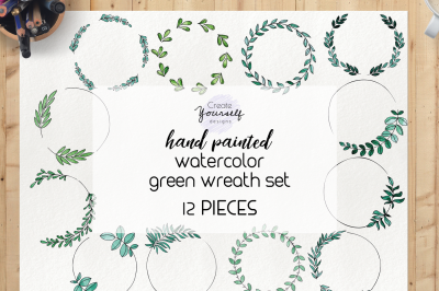 Watercolor wreath clipart set - green wreath clipart, wreath elements