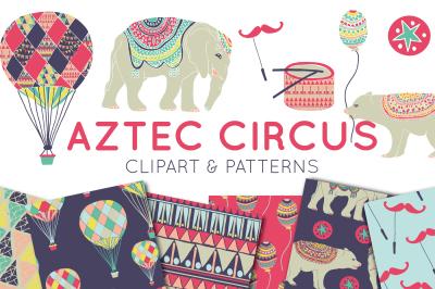 Aztec Circus Clipart & Digital Paper