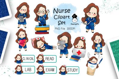 Brown hair nurse clipart