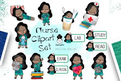 African american nurse clipart