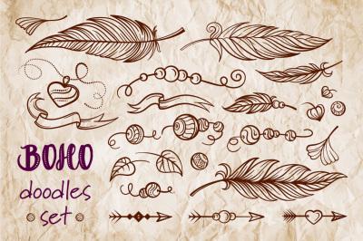 Boho doodles set
