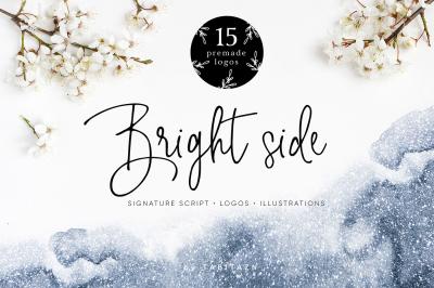Bright Side script font & logos