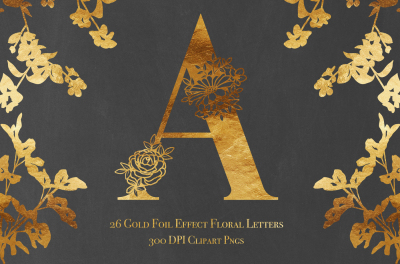Set of 26 Gold Foil Effect Floral Letters - Clip Art PNGs