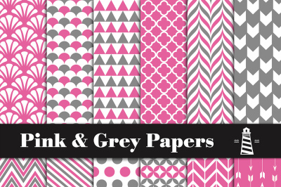 Pink And Grey Digital Paper
