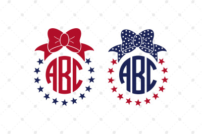 4th of July SVG Bow Monogram Frames Files