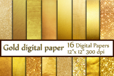 Gold Foil Digital Paper,Gold Backgrounds