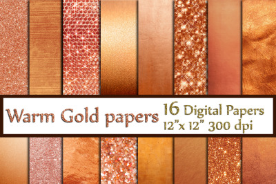 Rose Gold Foil Papers, Glitter digital papers