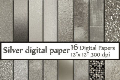 Silver Digital Paper,Metallic Silver Backgrounds