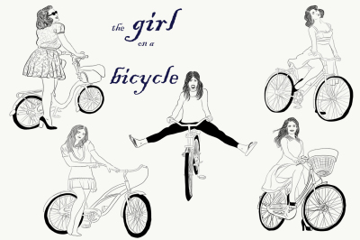 Girls on a bicycles. Hand drawn. Vector