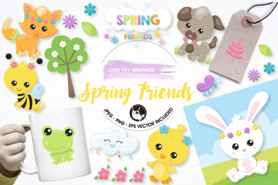Spring friends graphics and illustrations