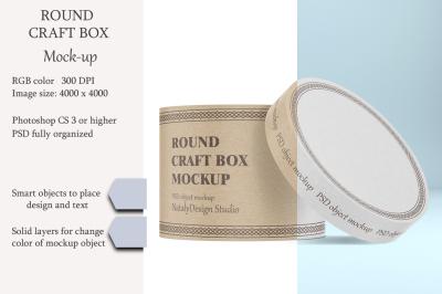 Round craft box mockup. Carton box.