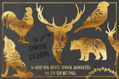 30 Gold Foil Effect Floral Animals - Clip Art PNGs