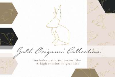 Gold origami graphics and patterns