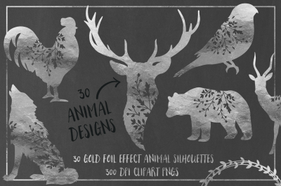 30 Silver Foil Effect Floral Animals - Clip Art PNGs