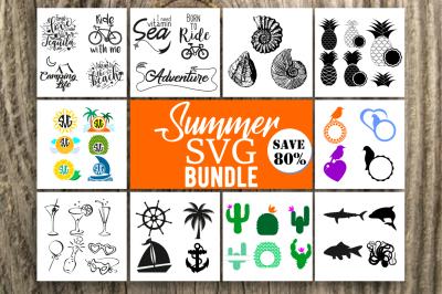 Summer SVG Bundle, Summer Design Bundle, 10 sets with 47 designs