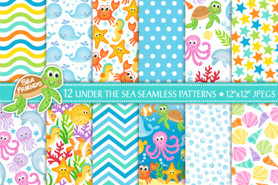 Under the sea digital papers, Sea animal papers, sealife papers