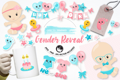 Gender reveal graphics and illustrations