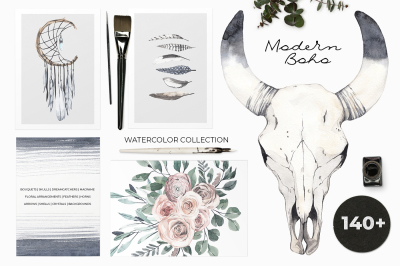 Modern Boho: nude floral watercolor collection