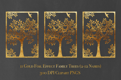 Gold Foil Family Tree Bundle 2-12 Names - Clip Art PNGs