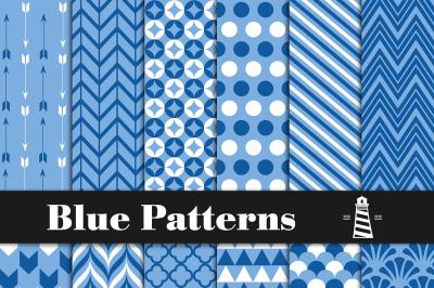 Blue Digital Paper - Blue Patterns