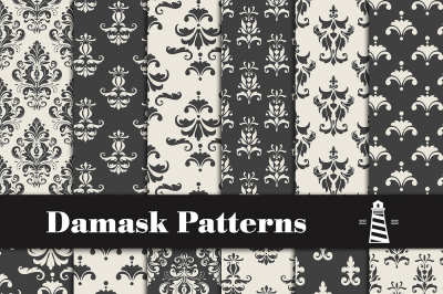 Black And White Damask Patterns