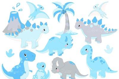 Cute Blue Baby Dinosaur Clipart
