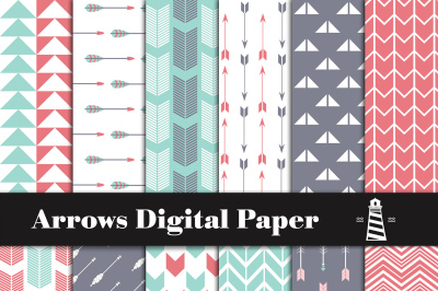 Teal And Red Arrow Pattern