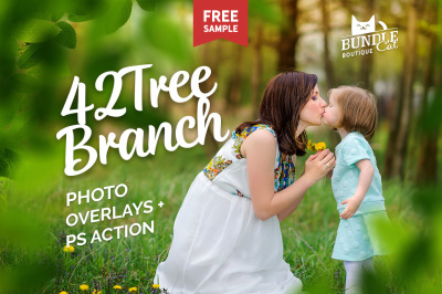 42 Green Tree Branch Photo Overlays