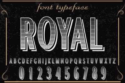 vintage alphabet Typeface handcrafted vector label design royal