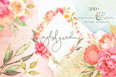 English Garden Watercolor & Glitter Design Elements Collection