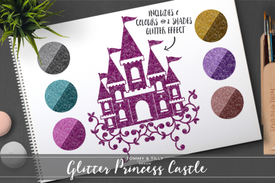 Glitter Princess Castle Clipart Set - 6 Colours - PNG