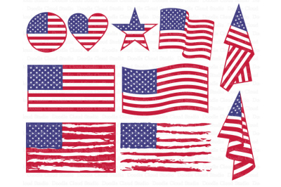 American flag SVG, Distressed USA Flag SVG.