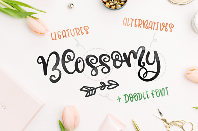 Blossomy - Font Duo + Floral Doodles
