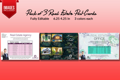 Pack of 3 Real Estate Post Cards