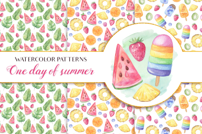 One Day of Summer - Watercolor Patterns
