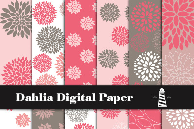 Dahlia Digital Paper, Dahlia Pattern