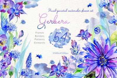 Blue gerbera PNG watercolor flower set