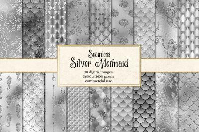 Silver Mermaid Digital Paper