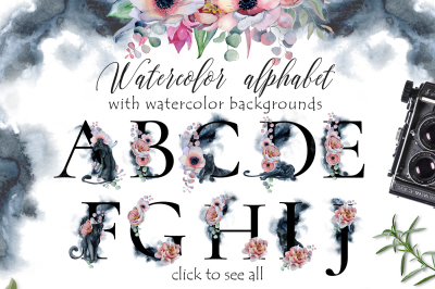 Panthers Alphabet with watercolor backgrounds ClipArt