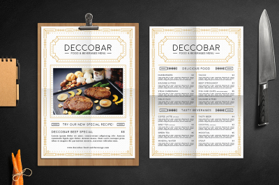 Art Deco Food & Beverages Menu