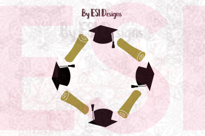 Graduation Cap and Scroll Circle Monogram Frame | SVG,DXF,EPS,PNG