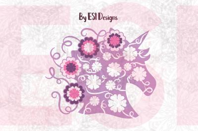 Unicorn Head with Flowers and Swirls Design