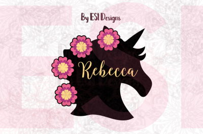 Unicorn Head Silhouette with Flowers Design | SVG DXF EPS PNG