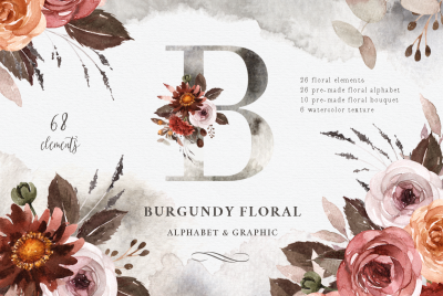 Burgundy Floral Watercolor Clipart