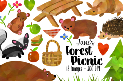 Watercolor Forest Animals Picnic Clipart