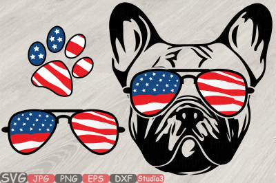 Bulldog USA Flag Glasses Paw Silhouette SVG French Dog 4th of July 827
