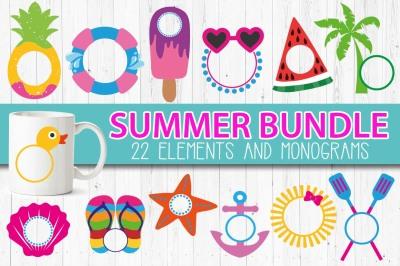 Summer monograms frames BUNDLE